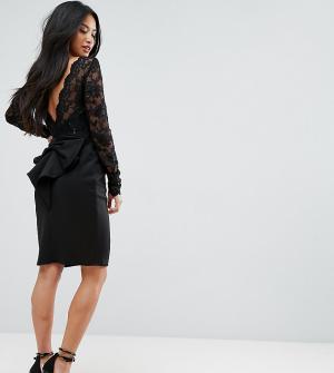 City Goddess Petite Кружевное платье мини с длинными рукавами и бантом на спине Godde. Цвет: черный