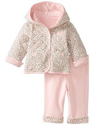 Комплект из 2-х предметов Леопард Little Me. Цвет: бежевый, розовый