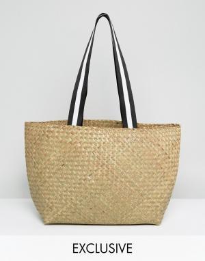 Reclaimed Vintage Соломенная сумка на плечо с ручками в спортивном стиле Vinta. Цвет: бежевый
