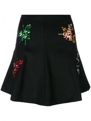 Мини-юбка с цветочной отделкой Gaelle Bonheur. Цвет: чёрный