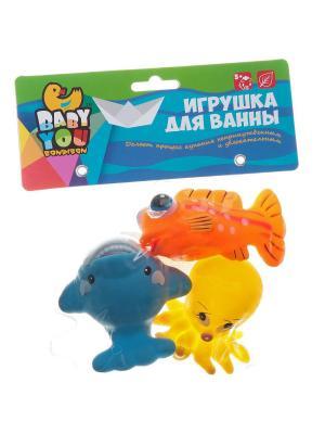 Игр. наб. для купания, Bondibon, кит, рыба, осьминог, 3 шт., pvc, арт. TL434 BONDIBON. Цвет: зеленый, оранжевый, желтый, синий