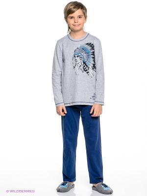 Пижама Sanetta. Цвет: темно-синий, серый