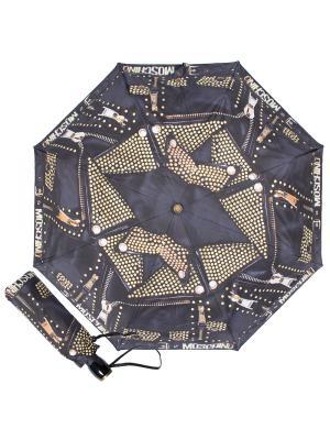 Зонт складной Moschino 8201-OCA Biker Jacket Studs Black/Gold. Цвет: черный, золотистый