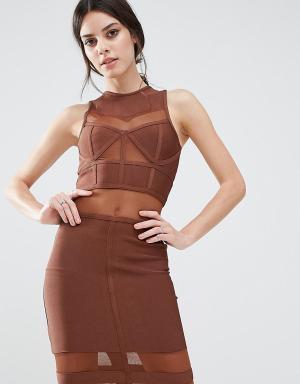 True Decadence Petite Бандажное платье миди с сетчатыми вставками. Цвет: коричневый