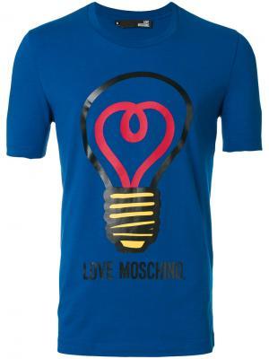 Футболка с принтом лампочки Love Moschino. Цвет: синий
