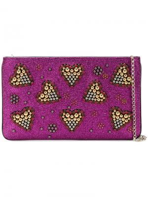 Декорированный бусинами клатч Christian Louboutin. Цвет: розовый и фиолетовый