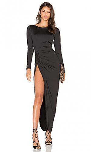 Макси платье с разрезом amore LIONESS. Цвет: черный