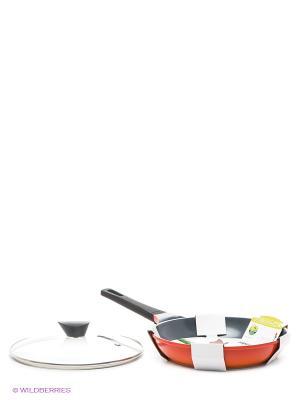 Комплект сковорода Rainbow 28 см со стеклянной крышкой Frybest. Цвет: оранжевый, черный