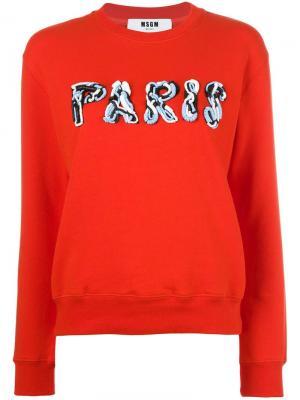 Декорированная толстовка Paris MSGM. Цвет: красный