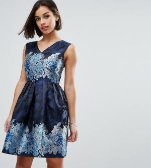 Uttam Boutique Petite Жаккардовое короткое приталенное платье. Цвет: темно-синий