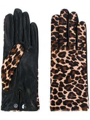 Леопардовые перчатки Agnelle. Цвет: телесный