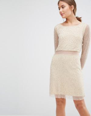 Walter Baker Платье с бусинами, длинными рукавами и прозрачными вставками Ba. Цвет: розовый