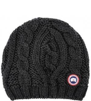 Шерстяная шапка с косами Canada Goose. Цвет: серый
