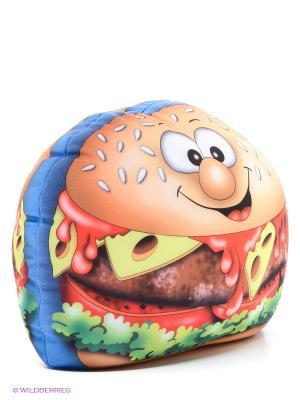 Подушка Чизбургер MAXITOYS. Цвет: голубой, бежевый