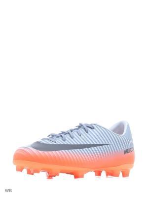 Бутсы JR MERCURIAL VAPOR XI CR7 FG Nike. Цвет: серый, оранжевый