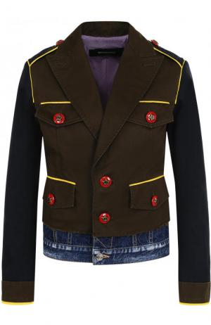 Хлопковая куртка с контрастной отделкой и джинсовой вставкой Dsquared2. Цвет: зеленый