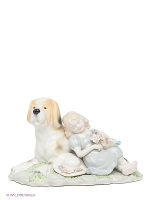 Фигурка Девочка с собакой Pavone. Цвет: белый, зеленый, желтый