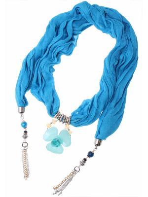 Платок Nina Ford. Цвет: голубой, золотистый, серебристый