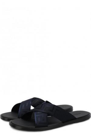 Кожаные шлепанцы с текстильной отделкой Versace. Цвет: темно-синий