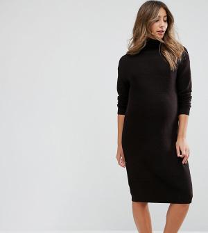 ASOS Maternity Платье миди для беременных с высоким воротом. Цвет: коричневый