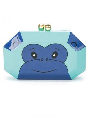 Эмалированный клатч Monkey Serpui. Цвет: зелёный