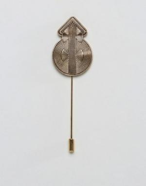 ASOS Булавка на лацкан с ацтекским узором. Цвет: золотой