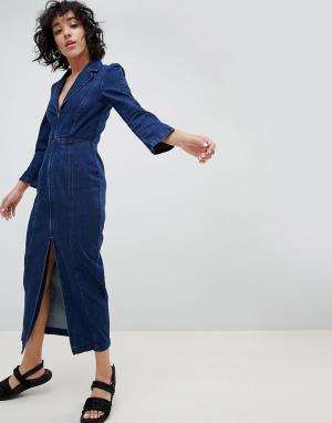 ASOS Джинсовое платье-блейзер цвета индиго DESIGN. Цвет: синий
