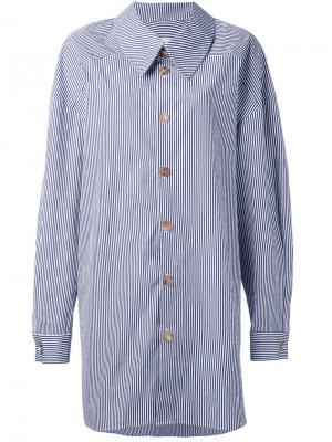 Полосатая рубашка с запахом A.W.A.K.E.. Цвет: синий