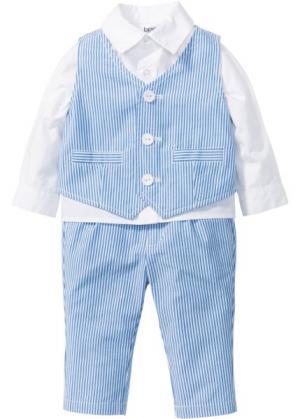 Костюм для малышей: рубашка + жилет брюки (3 изд.) (белый/голубой) bonprix. Цвет: белый/голубой