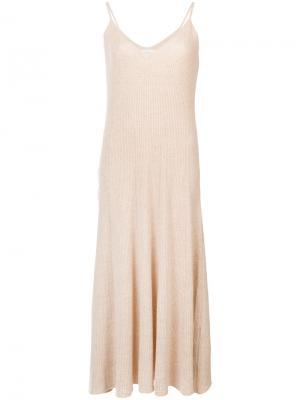 Ребристое платье на бретелях Ryan Roche. Цвет: телесный