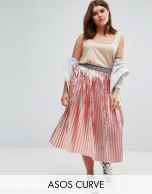 ASOS Curve Плиссированная юбка с эффектом металлик и спортивным поясом. Цвет: розовый