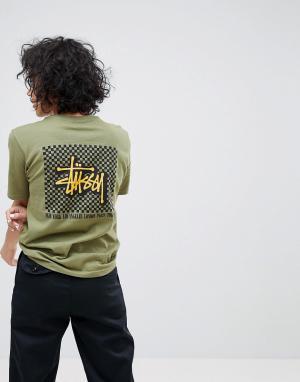 Stussy Футболка оверсайз с логотипом и шахматным принтом на спине. Цвет: зеленый
