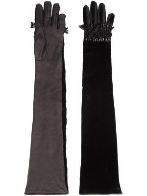 Длинные декорированные перчатки Dsquared2. Цвет: чёрный