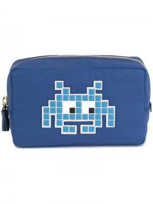 Косметичка Space Invader Anya Hindmarch. Цвет: синий