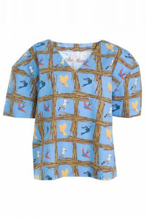 Блуза STELLA JEAN. Цвет: голубой