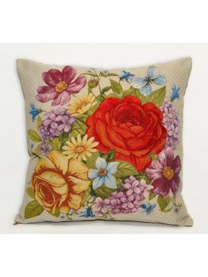 Декоративная наволочка Белая роза(бабочка) 47х47 см гобелен Рапира. Цвет: красный, желтый, зеленый