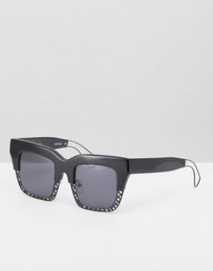 House of Holland Квадратные солнцезащитные очки с полуоправой. Цвет: черный