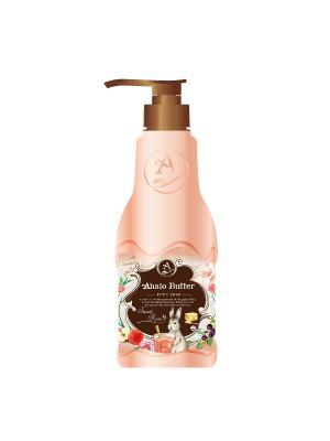 Жидкое мыло для тела с тропическими и цветочными маслами, ароматом розы свежих фруктов, 500 мл AHALO BUTTER. Цвет: розовый