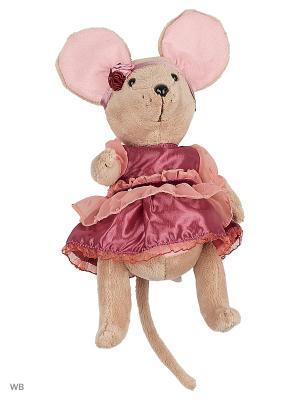 Мышка шарнирная Lady mouse Вишенка  в малиновом платье Fluffy Family. Цвет: розовый, серый