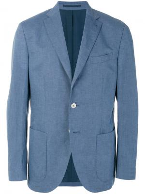Пиджак с накладными карманами Cantarelli. Цвет: синий