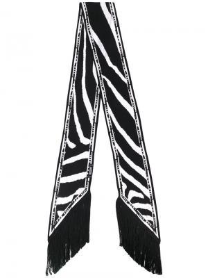 Узкий шарф с рисунком под зебру и бахромой Rockins. Цвет: чёрный