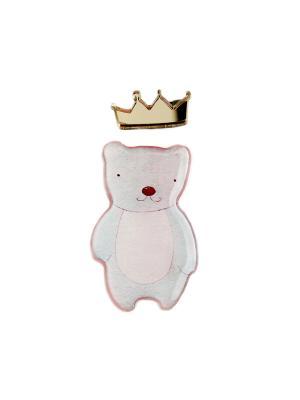 Брошь королевский мишка НечегоНадеть. Цвет: розовый