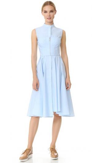 Платье без рукавов из хлопкового твила Jason Wu. Цвет: голубой