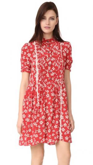 Платье с цветочным рисунком и оборками The Kooples. Цвет: красный