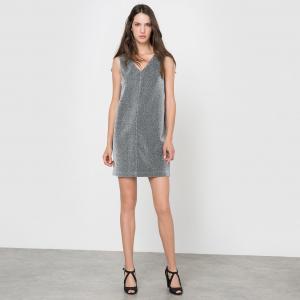 Платье прямого покроя без рукавов с V-образным вырезом MOLLY BRACKEN. Цвет: серый серебристый