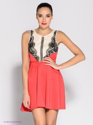 Платье Eunishop. Цвет: коралловый, кремовый