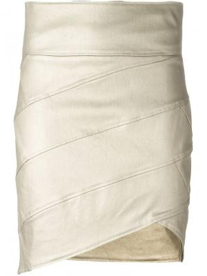 Асимметричная юбка Alexandre Vauthier. Цвет: металлический