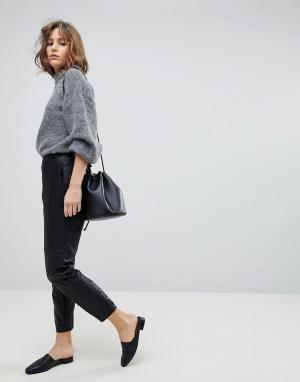 Selected Кожаные брюки Femme. Цвет: черный