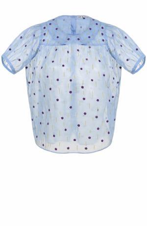 Полупрозрачный топ свободного кроя с вышивкой Jupe by Jackie. Цвет: голубой