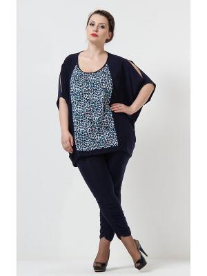 Блузка Lina. Цвет: темно-синий, бирюзовый